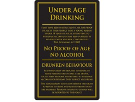 "SIGN ""UNDER AGE DRINKING"" GOLD/BLACK LARGE"