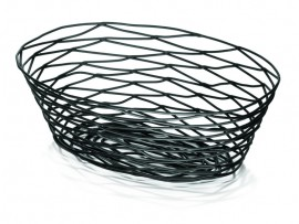 BASKET ARTISAN OVAL BLACK 10X7X3.25""