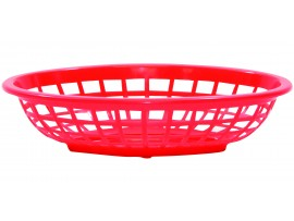 BASKET SIDE ORDER OVAL PLASTIC RED