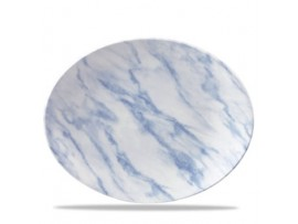 PLATE OVAL COUPE BLUE MARBLE 31.7X25.5CM