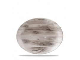 PLATE SEPIA WOOD OVAL COUPE 19.7X16CM