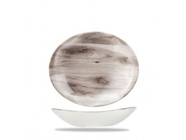 PLATE SEPIA WOOD OVAL COUPE 25.5X21.2CM