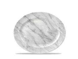 DISH RIMMED OVAL GREY MARBLED