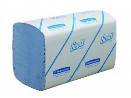 HAND TOWEL INTERLEAVED BLUE 1PLY