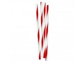"STRAW PAPER RED WHITE STRIPE 8"" 200X6MM"