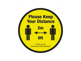 SIGN FLOOR 2M DISTANCE 30CM