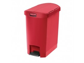 BIN PEDAL SLIM JIM RUBBERMAID RED 30LT