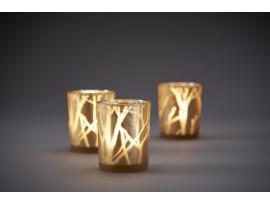 CANDLEHOLDER GLASS 100X80 SHIMMER SAND