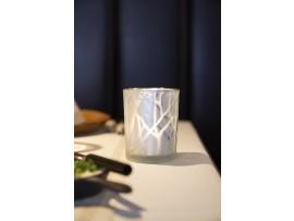 CANDLEHOLDER GLASS 100X80 SHIMMER WHITE